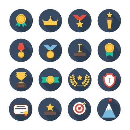 trophy winner: Award icons.  colorful set of prizes and trophy signs.