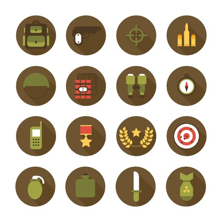 Military and war icons set. Army infographic design elements. Illustration in flat style. Vector