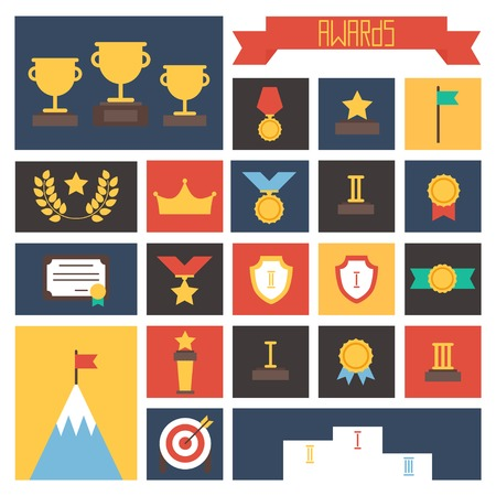 champ: Award icons. Vector colorful set of prizes and trophy signs. Design elements. Illustration in flat style.