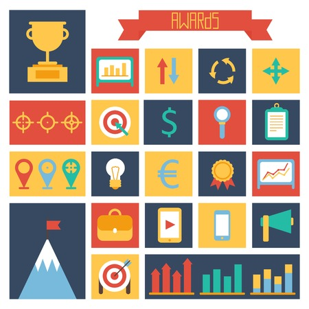 champ: Business and finance infographic design elements. Set of vector target icons. Illustration in flat style.
