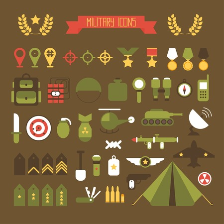 military: Military and war icons set. Army infographic design elements. Illustration in flat style.