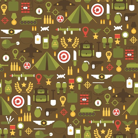 bullet icon: Seamless pattern of flat colorful  military and war icons set. Army infographic design elements. Illustration in flat style.