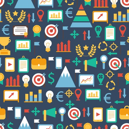 champ: Seamless pattern of flat colorful business and finance infographic design elements. Set of vector target icons. Illustration in flat style.