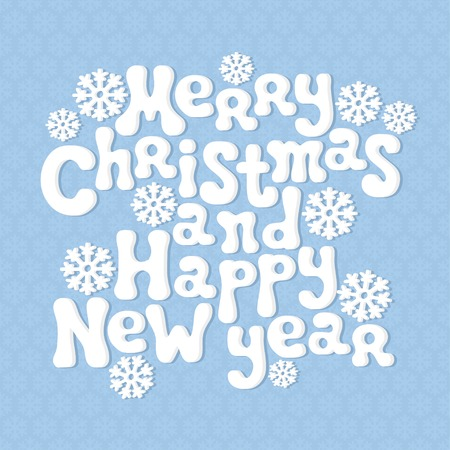 Merry Christmas and Happy New Year lettering greeting card 2015. Vector retro vintage background. Vector