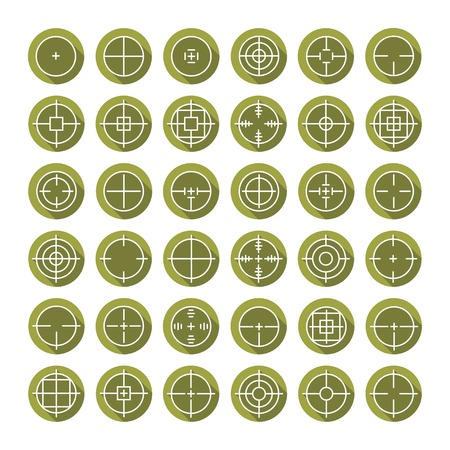 Set of different flat vector crosshair sign icons with long shadow. Line simple symbols. Target aim symbol. Circles and rounded squares buttons. Illustration
