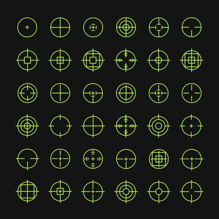 fusil de chasse: Ensemble de différents vecteurs plat signe croix icônes. Ligne des symboles simples. Cible visent symbole. Cercles et des carrés arrondis boutons.