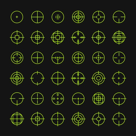Set of different flat vector crosshair sign icons. Line simple symbols. Target aim symbol. Circles and rounded squares buttons. Vettoriali