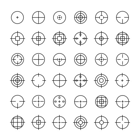 Set of different flat vector crosshair sign icons. Line simple symbols. Target aim symbol. Circles and rounded squares buttons.  イラスト・ベクター素材