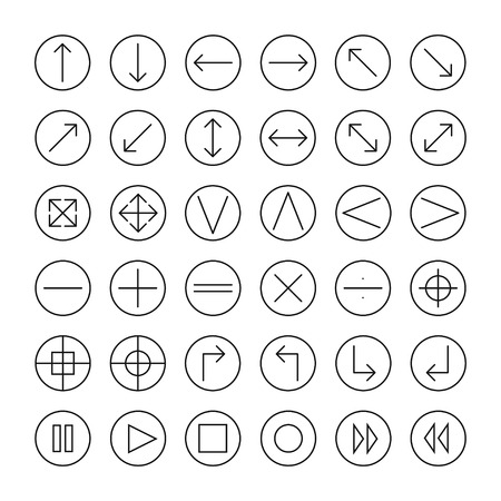 Vector thin icons set for web and mobile. Line simple arrows. Design elements. Illustration in flat style.