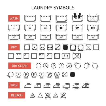 laundry care symbol: Set of  line simple washing instruction symbols .Laundry icons in flat style. Clothing care. Vector illustration. Illustration