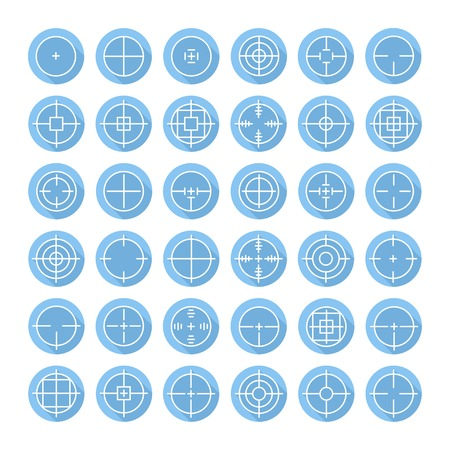 Set of different flat vector crosshair sign icons with long shadow. Line simple symbols. Target aim symbol. Circles and rounded squares buttons. Vector