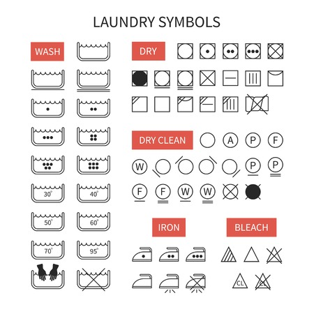 Set of  line simple washing instruction symbols .Laundry icons in flat style. Clothing care. Vector illustration. Иллюстрация