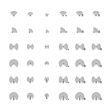 Set of different flat vector wi-fi and wireless icons for communicate using radio waves, remote access, wireless. Wi-fi zone sign. Line simple communication symbols. Vectores