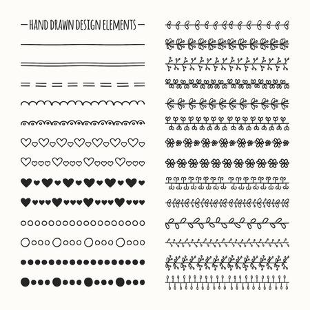 Hand drawn vector line border set and scribble design element. Illustration of doodles.