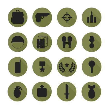 Military silhouette pictogram and war icons set with long shadow. Army infographic design elements. Illustration in flat style. Vector