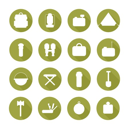 Set of  silhouette pictogram camping equipment symbols and icons with long shadow.  Design elements. Illustration in flat style. Vector