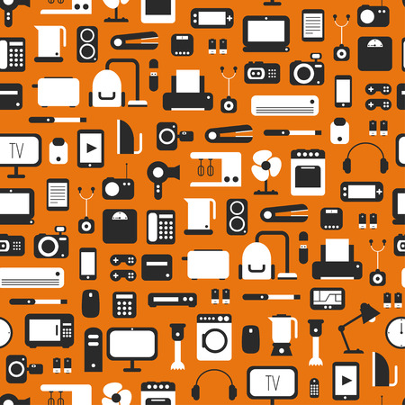 Seamless pattern of electronic devices and home appliances colorful icons set in flat style. Template vector elements for web and mobile applications. 向量圖像
