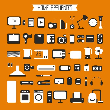 Set of electronic devices and home appliances colorful icons in flat style. Template vector elements for web and mobile applications. Vector