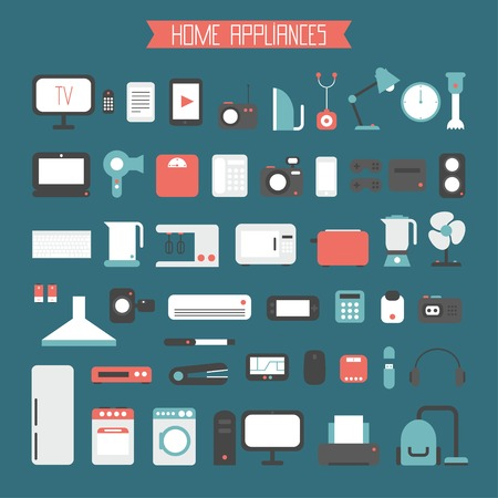 Set of electronic devices and home appliances colorful icons in flat style. Template vector elements for web and mobile applications. Illustration