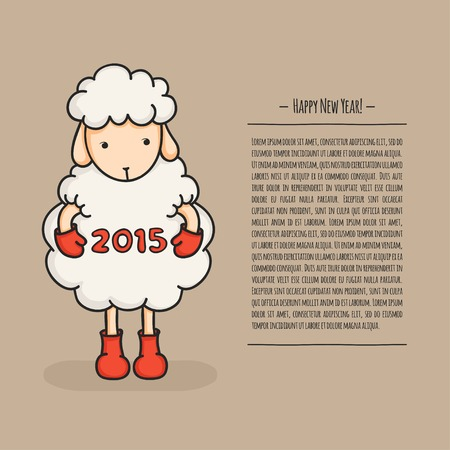 Colorful, cute sheep in boots. Happy new year 2015. Greeting card. Chinese symbol.