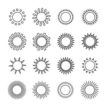 Set of sun web icons,symbol,sign in flat style. Suns collection. Elements for design. Vector illustration. Reklamní fotografie - 33691171
