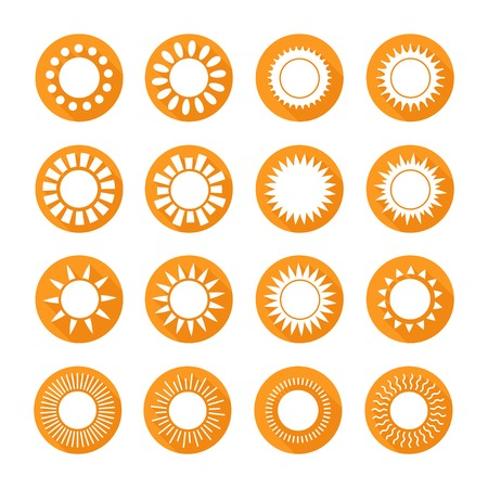 bright sun: Set of sun web icons,symbol,sign in flat style. Suns collection. Elements for design. Vector illustration. Illustration