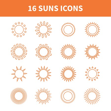 Set of sun web icons,symbol,sign in flat style. Suns collection. Elements for design. Vector illustration.  イラスト・ベクター素材