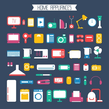 Set of electronic devices and home appliances colorful icons in flat style. Template vector elements for web and mobile applications. Vectores