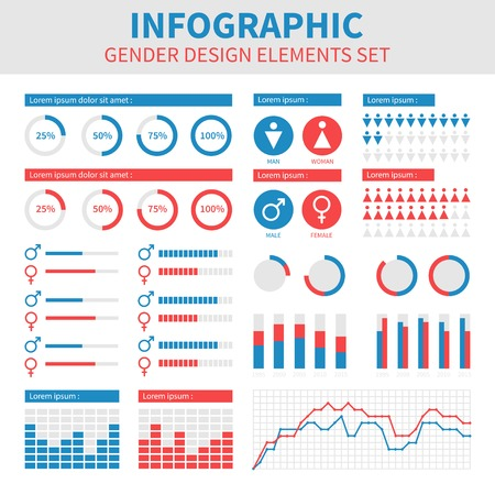 Gender infographic design. Male and female combination. Flat user interface. Vector abstract colorful background illustration. Graphic elements set.