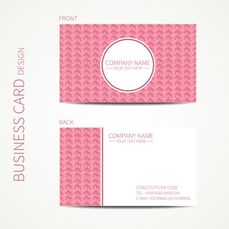 Doodle creative simple  business card template with hand drawn flowers. Vector design eps10. Line seamless pattern.  イラスト・ベクター素材