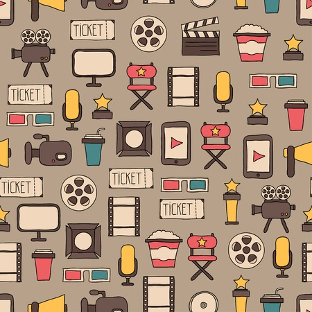 Seamless pattern of doodle colorful movie design elements and cinema icons in flat style. Vector illustration. Background.