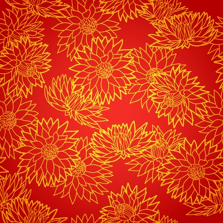National chinese seamless pattern with chrysanthemum. Chinese new year 2015. Bright Beautiful  vector illustration. Background.