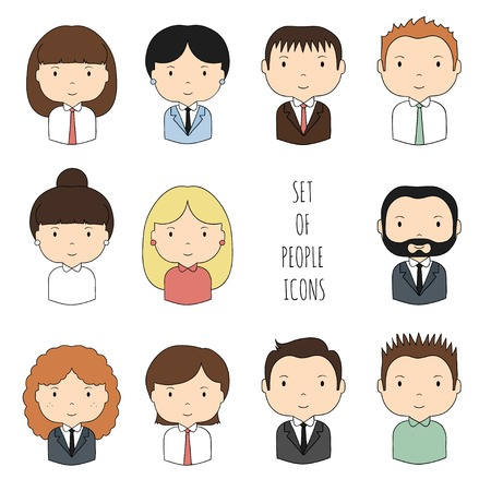Set of colorful office people icons. Businessman. Businesswoman. Funny cartoon hand drawn faces sketch for your design. Collection of cute avatar. Trendy doodle style. Vector illustration.