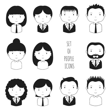 Set of monochrome silhouette office people icons. Businessman. Businesswoman. Funny cartoon hand drawn faces sketch pictogram for your design. Collection of cute avatar. Trendy doodle style. Vector illustration.