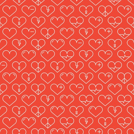 gift paper: Romantic line seamless pattern with hearts