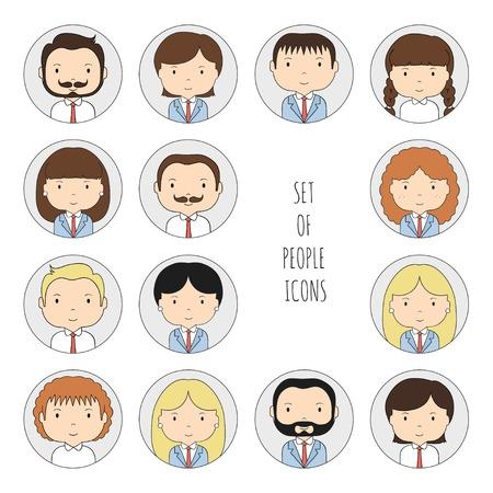 bocetos de personas: Conjunto de coloridas personas iconos de la oficina