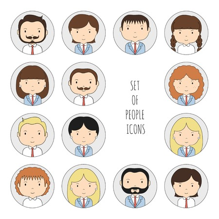 Set of colorful office people icons Illustration