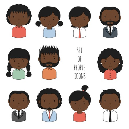 blacks: Set of colorful African-American people icons. Businessman. Businesswoman. Funny cartoon hand drawn blacks faces sketch for your design. Collection of cute avatar. Trendy doodle style. Vector illustration.