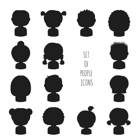 Set of monochrome silhouette people icons. Funny cartoon hand drawn faces sketch pictogram for your design. Collection of cute avatar. Trendy doodle style. Vector illustration.