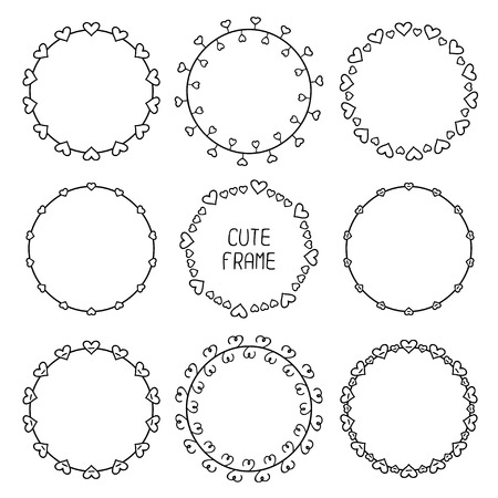 Hand drawn frame of romantic pattern with hearts. Trendy doodle style. Vector set of valentines day vintage design elements. Beautiful simple illustration. Vector