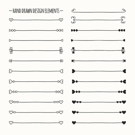 Hand drawn vector line border set and scribble design element. Valentine day vintage romantic pattern with hearts. Illustration. Trendy doodle style brushes. Vettoriali