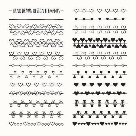 Hand drawn vector line border set and scribble design element. Valentine day vintage romantic pattern with hearts. Illustration. Trendy doodle style brushes. Vectores