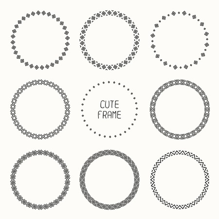 Hand drawn monochrome frame of geometric pattern. Trendy doodle style. Vector set of wreaths design elements. Beautiful simple illustration.  イラスト・ベクター素材