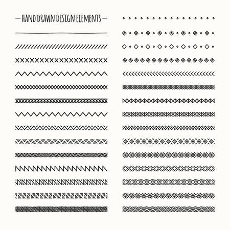 lijntekening: Hand getrokken vector lijngrens set en kattebelletje design element. Geometrische zwart-wit vintage mode patroon. Illustratie. Trendy doodle stijl borstels.