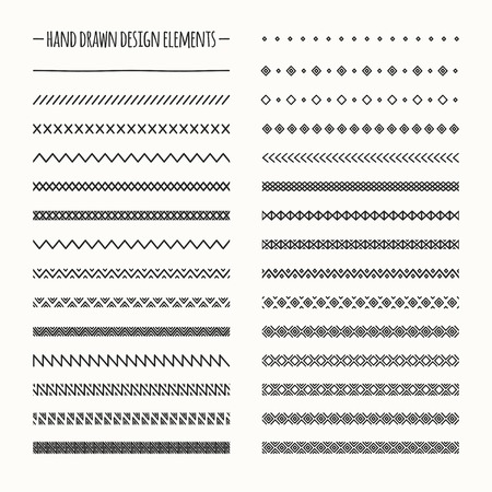 Hand drawn vector line border set and scribble design element. Geometric monochrome vintage fashion pattern. Illustration. Trendy doodle style brushes. Vettoriali