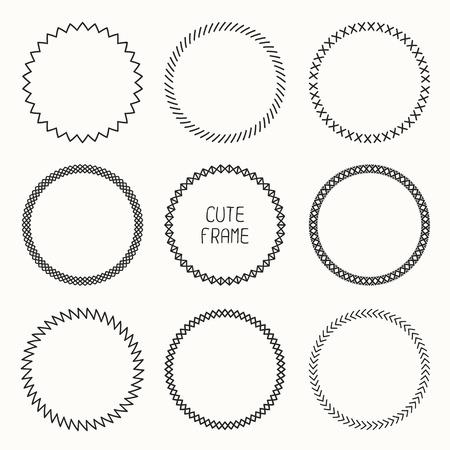 border line: Hand drawn monochrome frame of geometric pattern. Trendy doodle style. Vector set of wreaths design elements. Beautiful simple illustration. Illustration