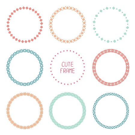 Hand drawn color frame of geometric pattern. Trendy doodle style. Vector set of wreaths design elements. Beautiful simple illustration. Vector