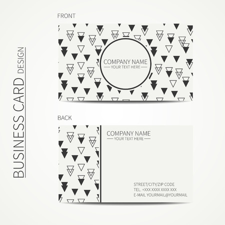 Vintage hipster simple monochrome business card template for your design. Line seamless geometric pattern with rhombus, square. Trendy calling card. Vector design eps10.
