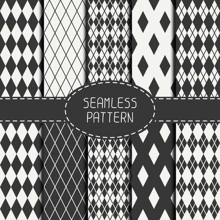 Set of geometric monochrome seamless pattern with rhombus, square. Collection of paper for scrapbook. Beautiful vector background. Tiling. Stylish graphic texture for your design, wallpaper.  イラスト・ベクター素材
