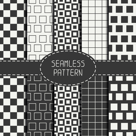 Set of geometric monochrome seamless pattern with  squares, cube. Collection of paper for scrapbook. Beautiful vector background. Tiling. Stylish graphic texture for your design, wallpaper.
